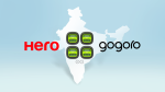 A composite image of Hero MotoCorp and Gogoro's logos superimposed over a silhouette of India and Gogoro's battery swapping station