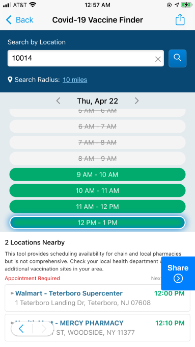A screenshot of the SmartNews vaccine locater feature for the American version of the app
