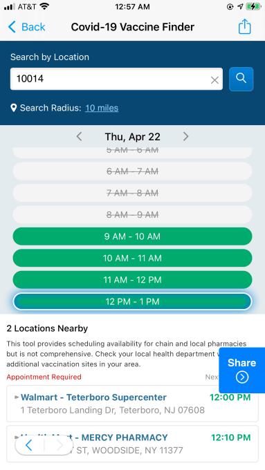 Tangkapan layar fitur pencari vaksin SmartNews untuk aplikasinya versi Amerika