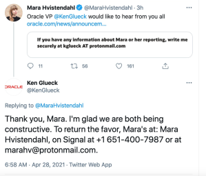 An Oracle exec's brass-knuckled approach with a reporter leads to a Twitter suspension