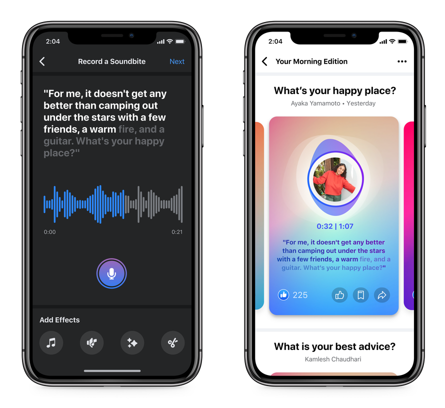 Facebook invests in audio with short-form Soundbites feature, podcast support and a Clubhouse clone
