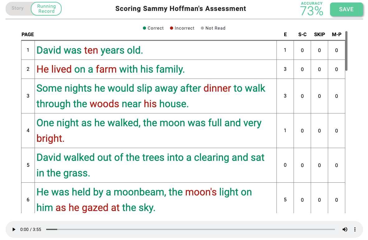 Screenshot of a reading assessment in the app Amira.