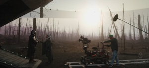 Characters and crew on the virtual stage of The Mandalorian.