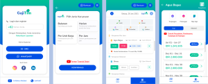 Four screenshots from GajiTim, Indonesian fintech startup GajiGesa's new app for micro-SMEs