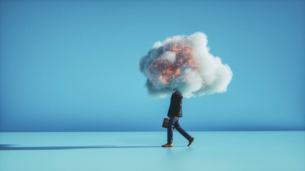 Image of a man walking with a cloud of security issues over his head.