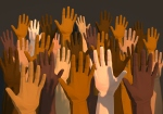 Digital generated image of multi-ethnic arms raised in the air on dark gray background.