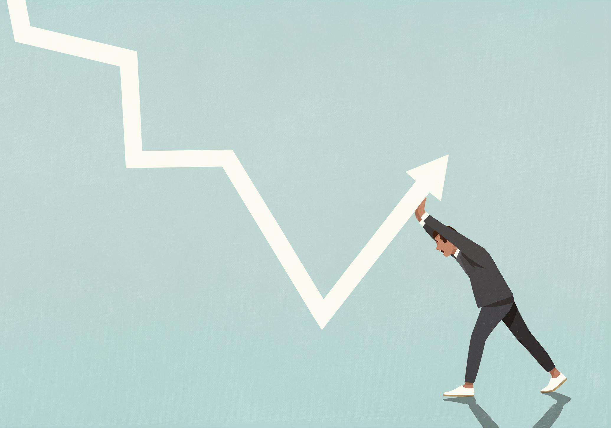 Businessman struggling to move data arrow upwards