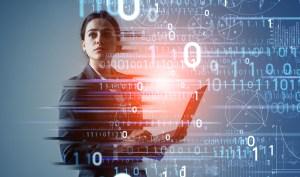 Digital transformation concept. Binary code. AI (Artificial Intelligence).