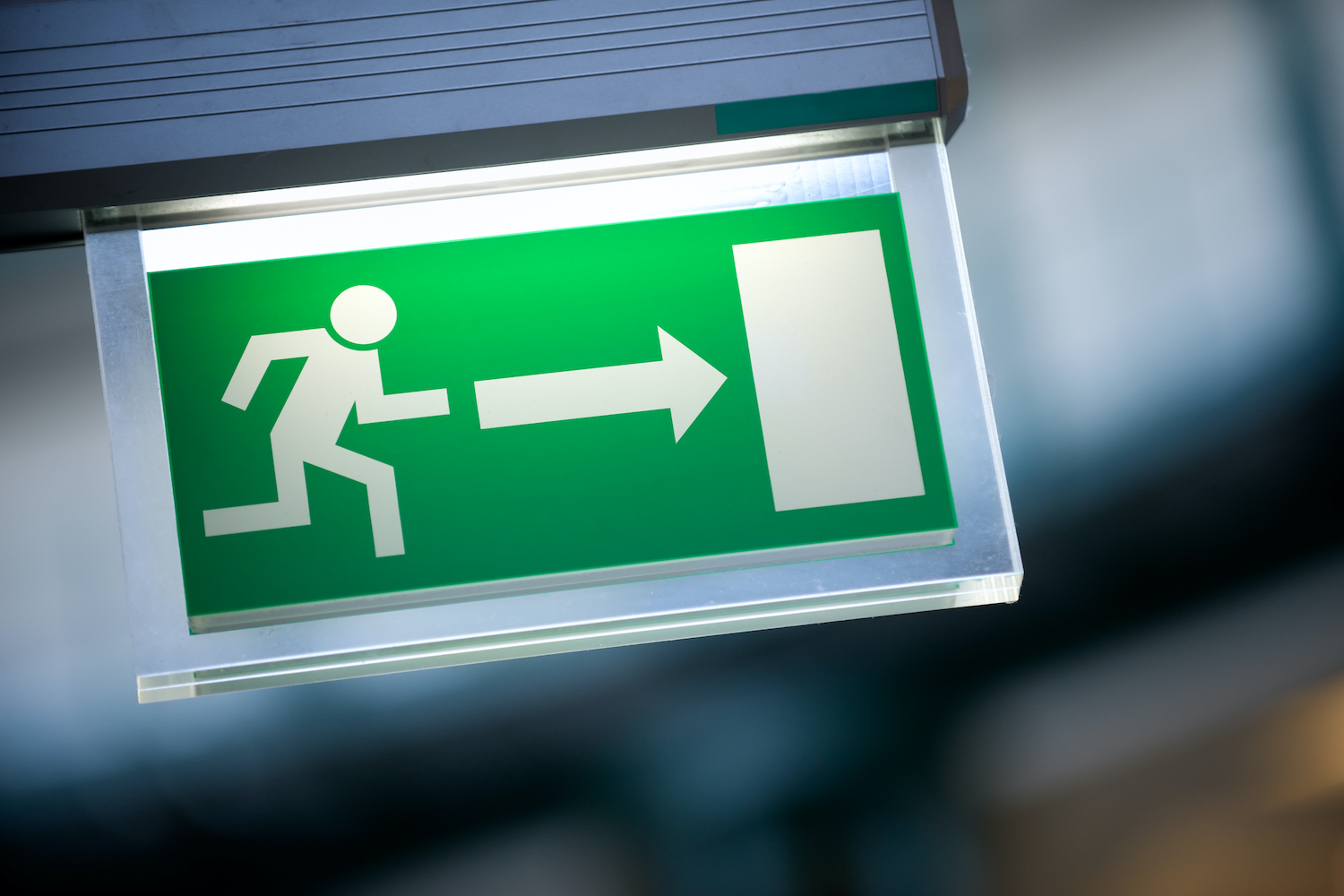 lighted fire exit sign