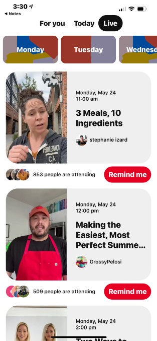 Pinterest to test live streamed events this month with 21 creators – TechCrunch