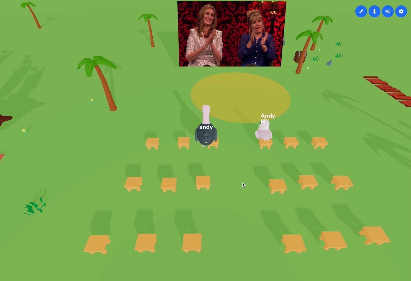 Skittish avatars watching a video