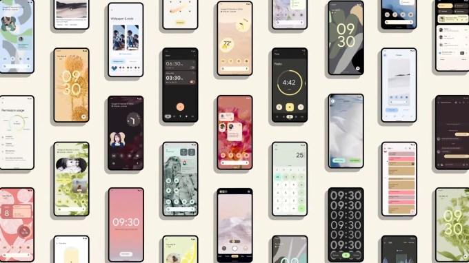 wall of phones - Android 12 Google I/O 2021