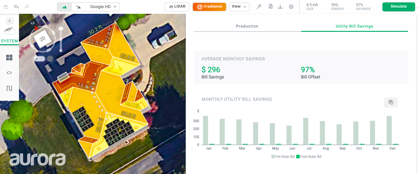 An interface showing a solar roof design and power savings.