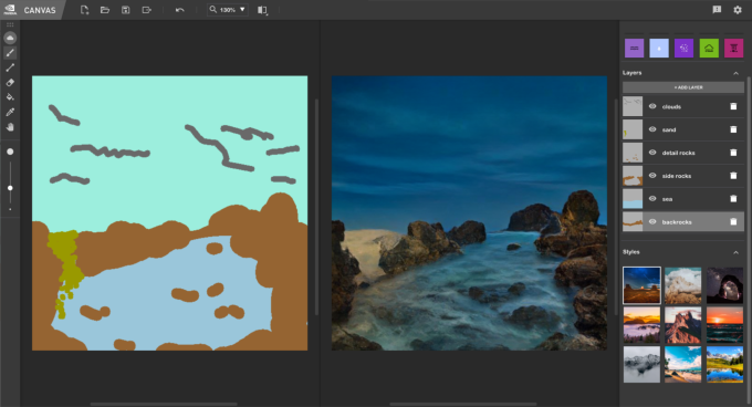 Nvidia's Canvas AI painting tool instantly turns blobs into realistic landscapes
