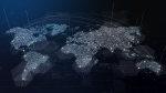 Digital composite image of a world map with cities illuminated