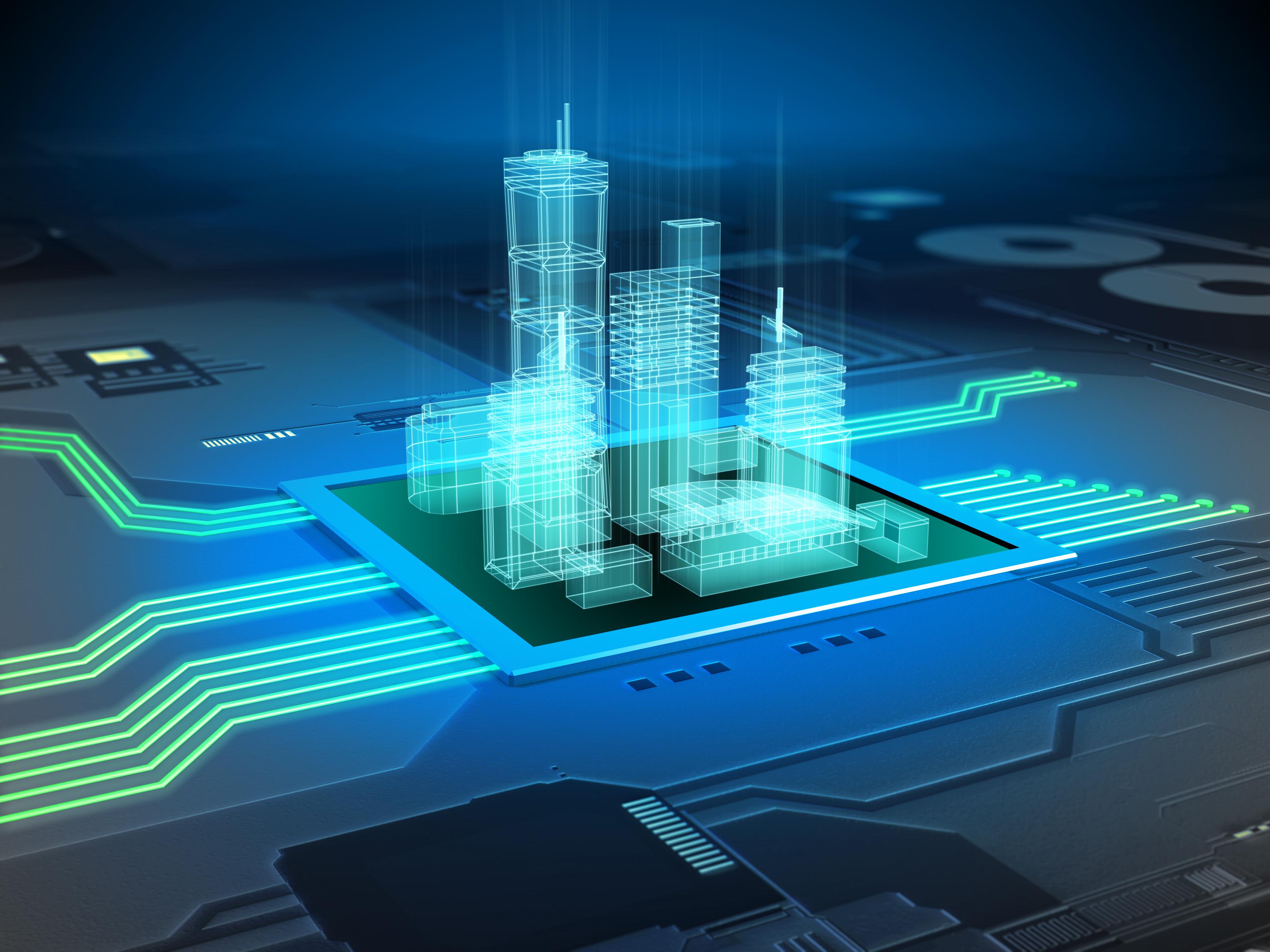 एक मुद्रित सर्किट बोर्ड पर आधुनिक शहर की इमारतें।  डिजिटल चित्रण।