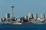 Seattle skyline in daytime featuring Space Needle prominently