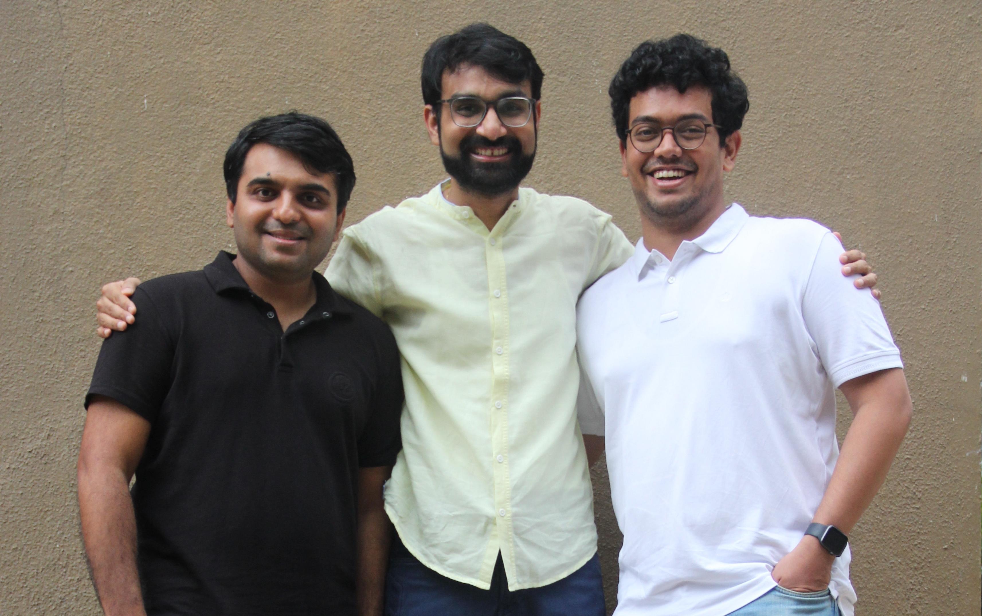 A group photo of BuyerAssist founders Shyam HN, Amit Dugar and Shankar Ganapathy