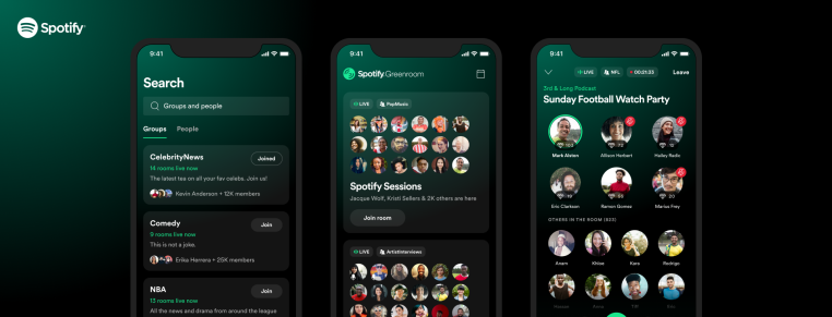 Spotify launches its live audio app and Clubhouse rival, Spotify Greenroom