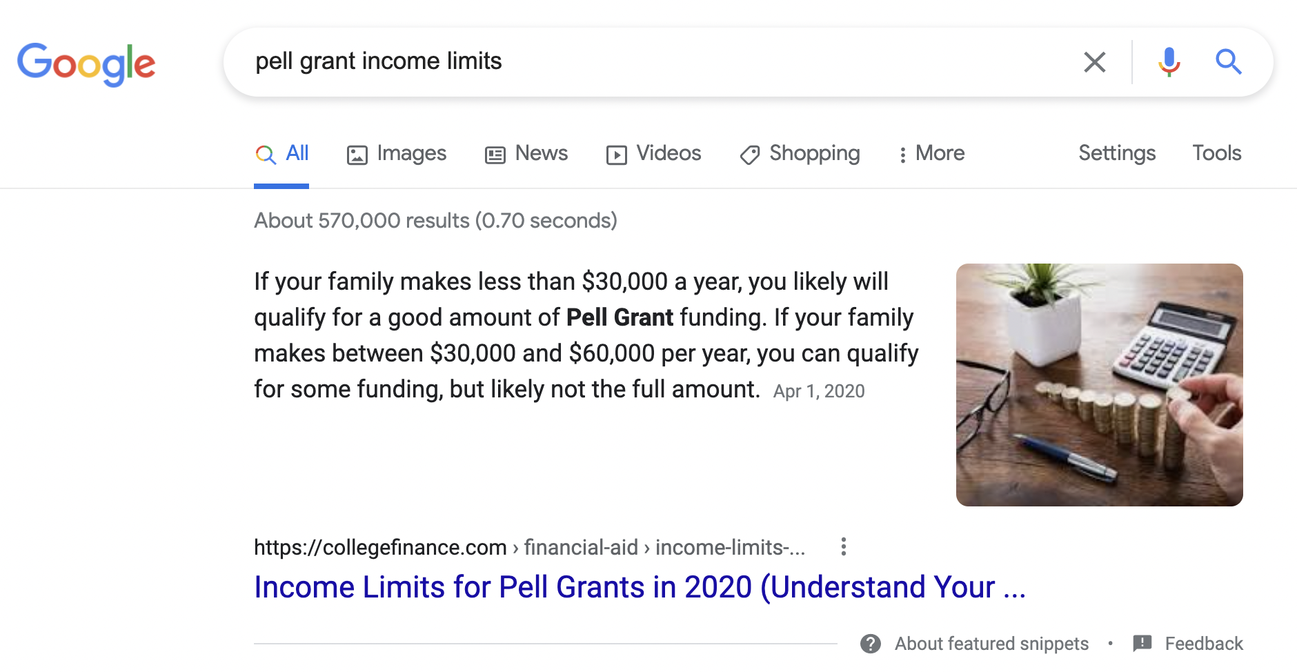 Example of featured snippet created for CollegeFinance.com