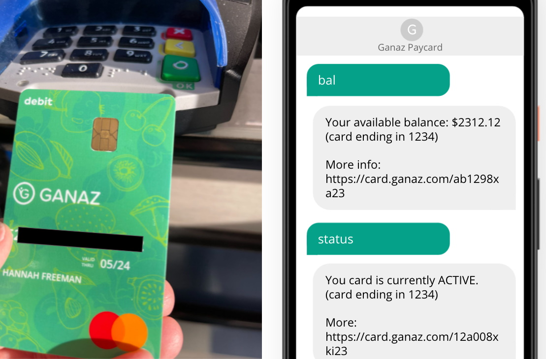 A payment card from Ganaz and text interface for asking about balance and other things.