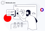 Illustration of a person manipulating molecules and chemicals on a big computer screen.