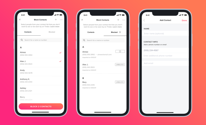 Tinder finally adds a Block Contacts feature – TechCrunch