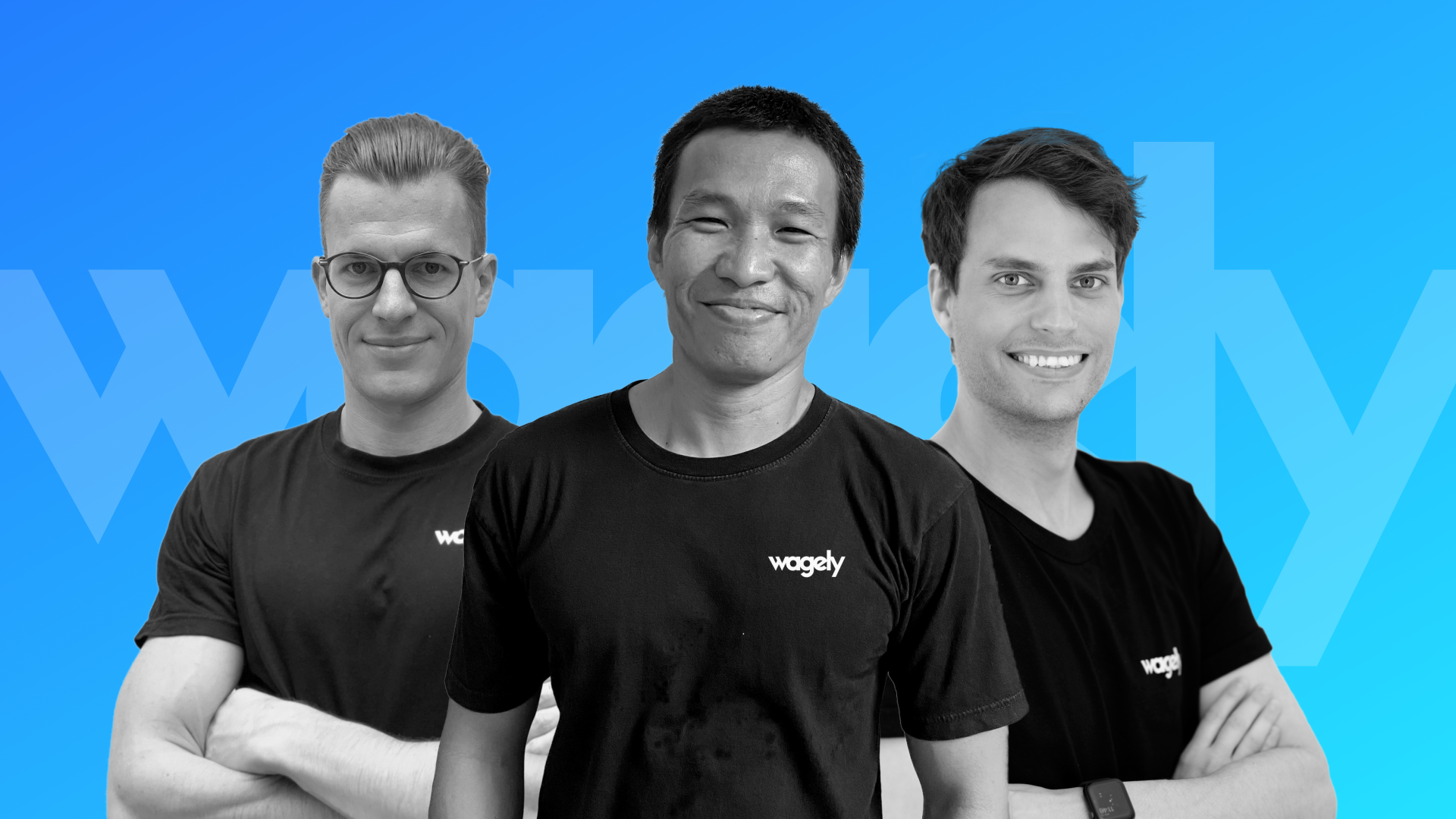 A group photo of Wagely's founding team: Tobias Fischer, Sasanadi Ruka and Kevin Hausburg
