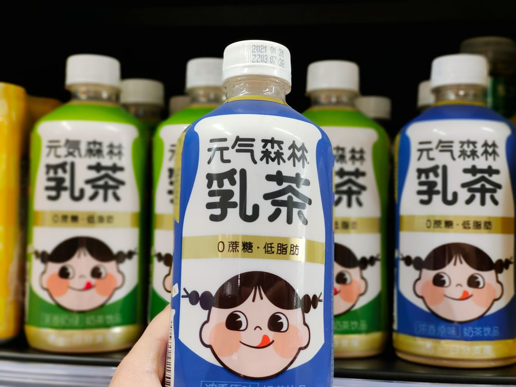 Bottles of tea made by Genki Forest