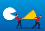 Illustration of two people walking away from a yellow wedge from a white pie.