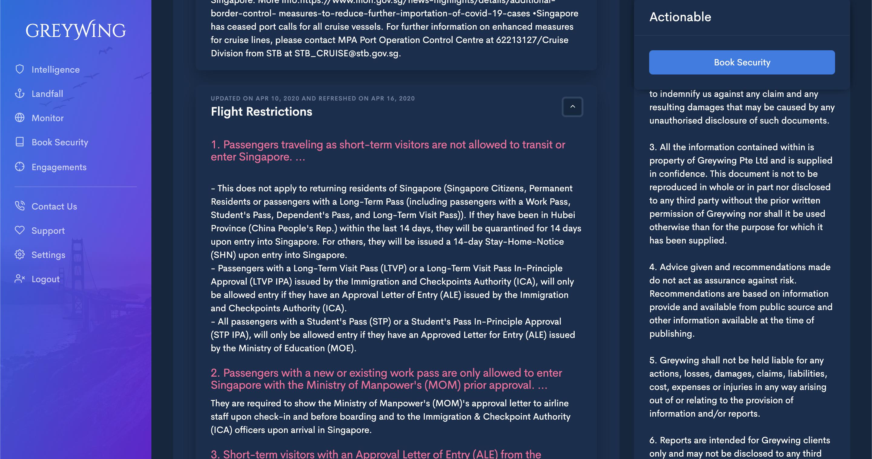 Un rapporto Greywing sulle restrizioni di volo
