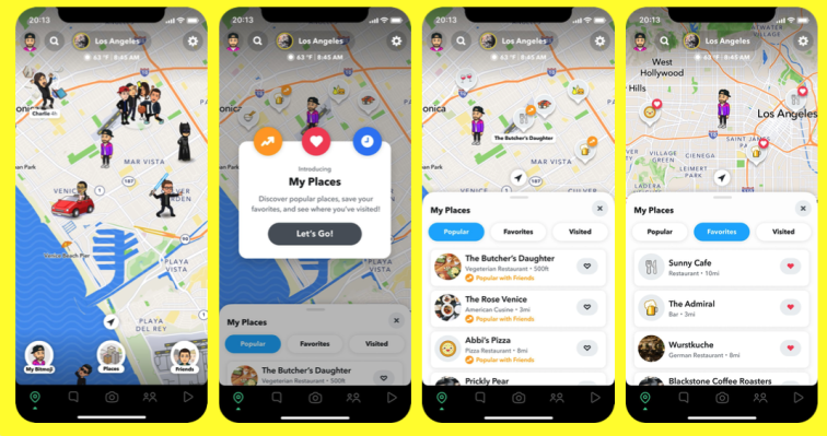 Snapchat adds My Places feature to Snap Map, recommending spots to visit � TechCrunch