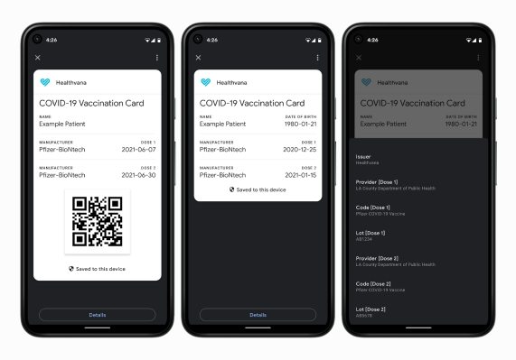 Google update will allow digital Covid-19 vaccination cards and test results to be stored on Android devices