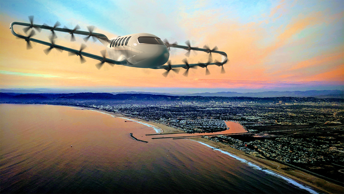 Render of a Craft aircraft flying over a city.