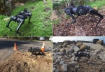 A robot walks over grass, cement, a rocky beach, and a leafy trail.
