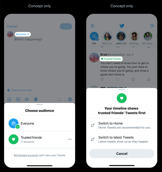 Twitter considers new features for tweeting only to friends, under different personas and more
