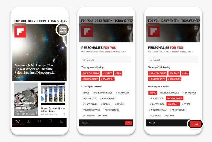 Flipboard For You personalization 3 screens