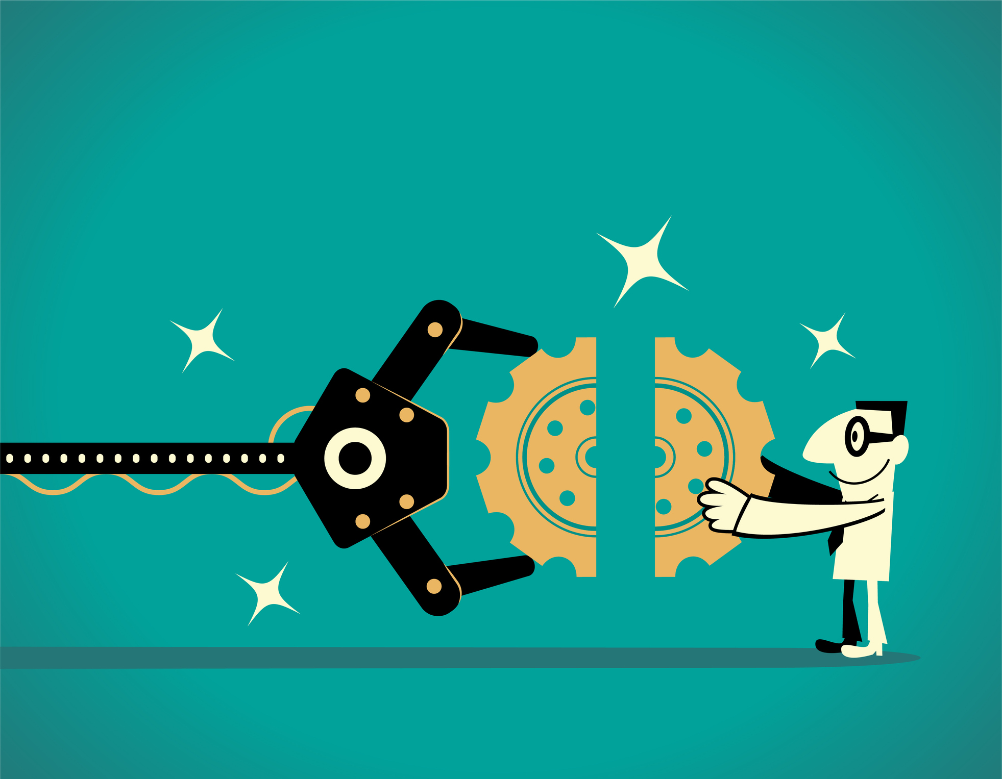 Artificial intelligence robot arm and businessman completing gear jigsaw puzzle (teamwork).