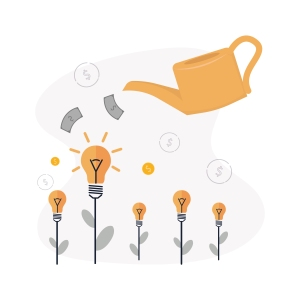 Image of a watering can pouring money on lightbulbs to represent choosing a venture capitalist.