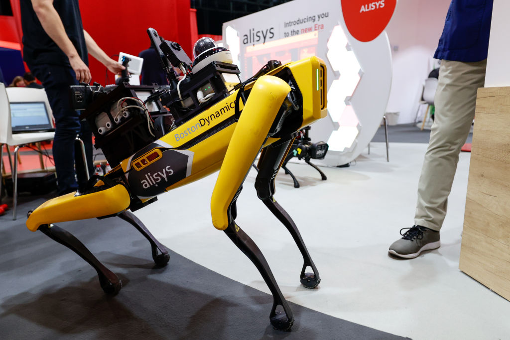 BARCELONA, SPAIN - JUNE 29: Boston dynamics Spot robot, sowed during the second day of Mobile World Congress (MWC) Barcelona, on June 29, 2021 in Barcelona, Spain. (Photo by Joan Cros/Corbis via Getty Images)