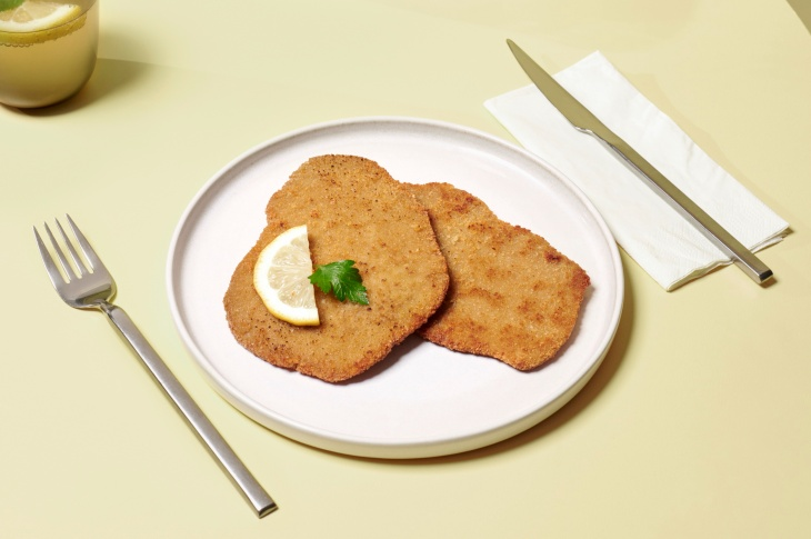 Planted's plant-based schnitzel on a plate.