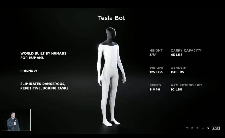 Tesla Bot身高172公分,重達56.7 公斤,可提起68公斤重物,亦可以雙足直立行走,行走時速每小時約8公里,面部則為一塊大熒幕,並擁有8個鏡頭作為導航用途。