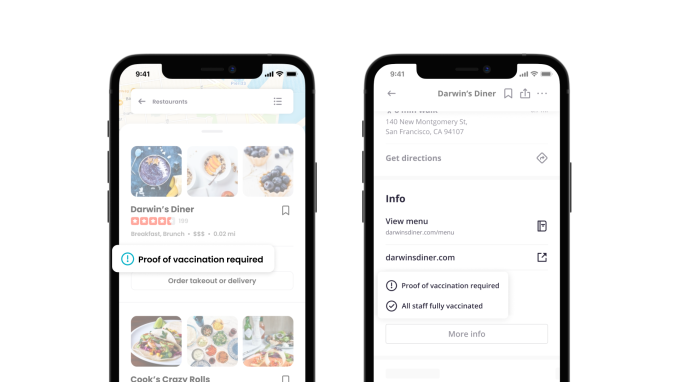 Yelp adds tools that let businesses share their Covid policies related to vaccines