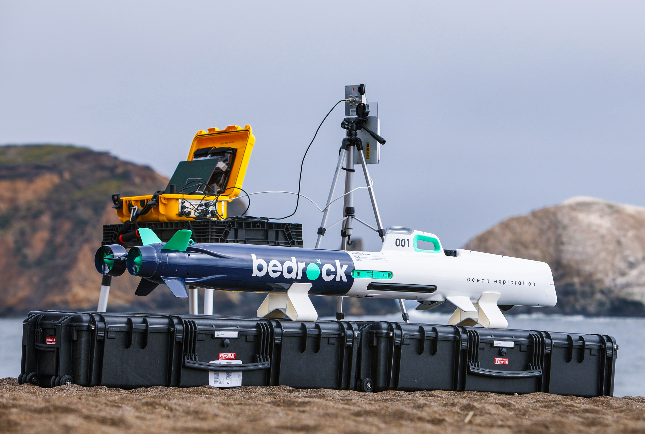 View of the AUV on a beach