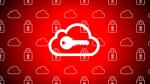 illustration of key over cloud icon, background of cloud and lock icons