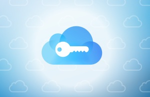 illustration of key over cloud icon
