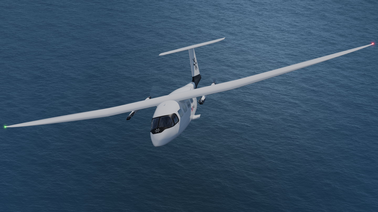 The Pyka P3 flying in the air.