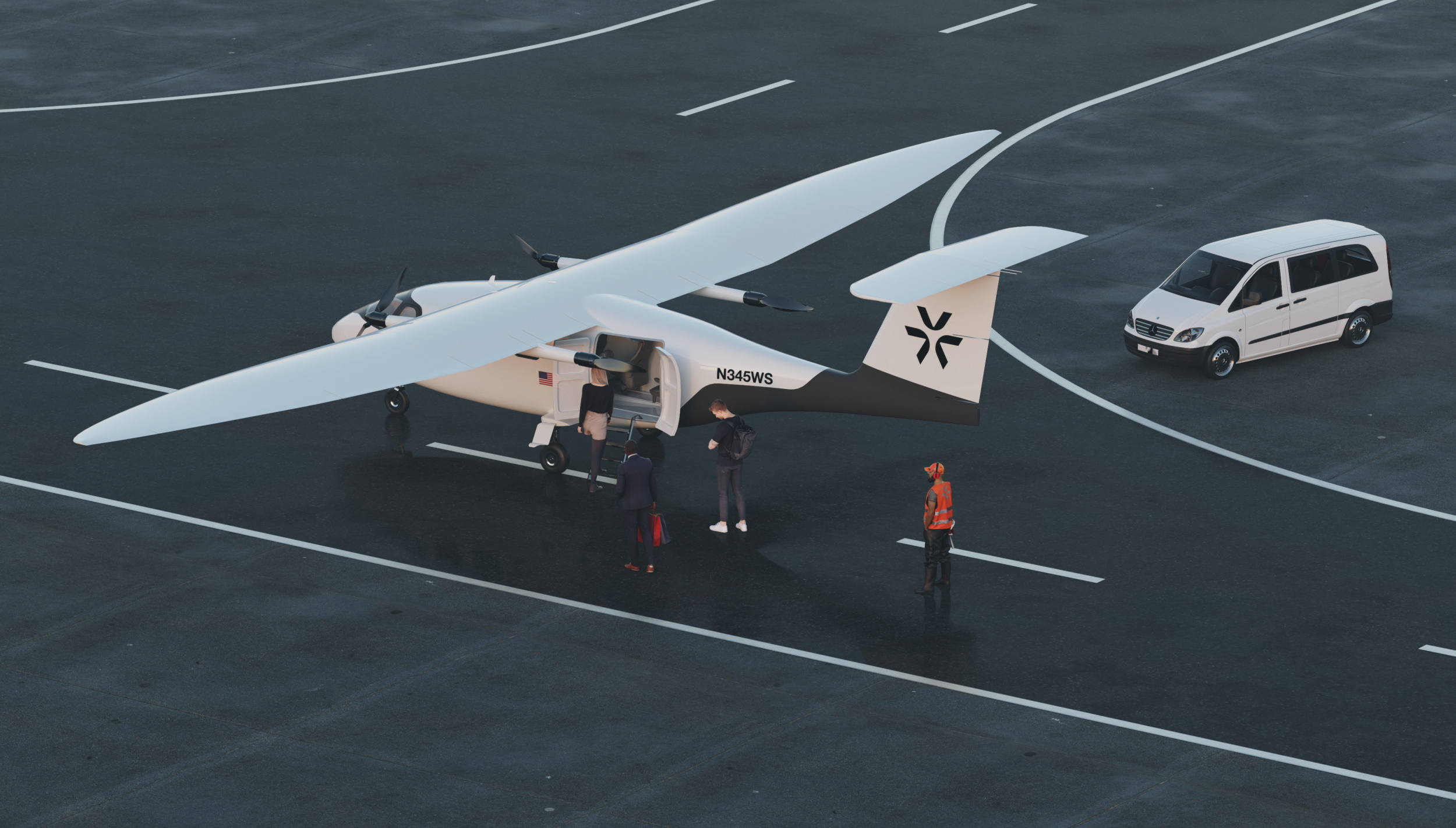 CG render of Pyka's P3 plane on a runway with people getting into it.