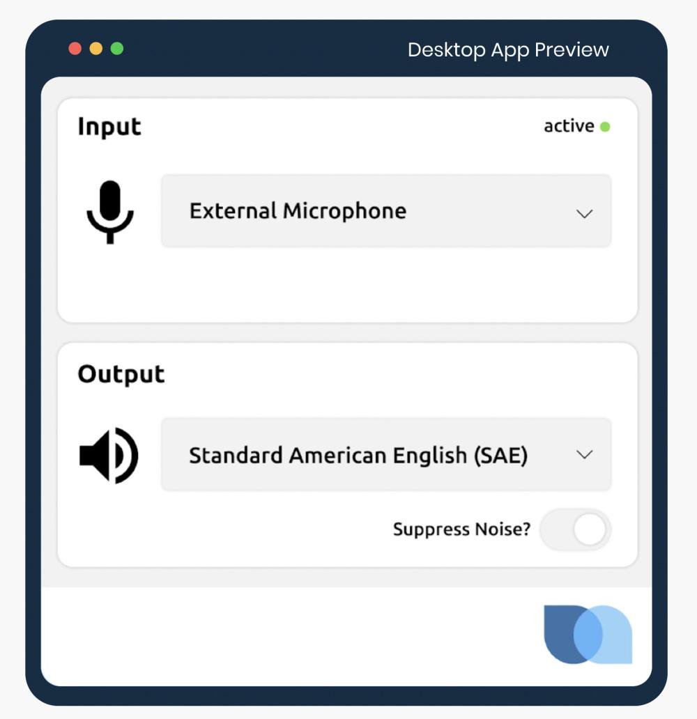 Screenshot of the Sanas desktop application.