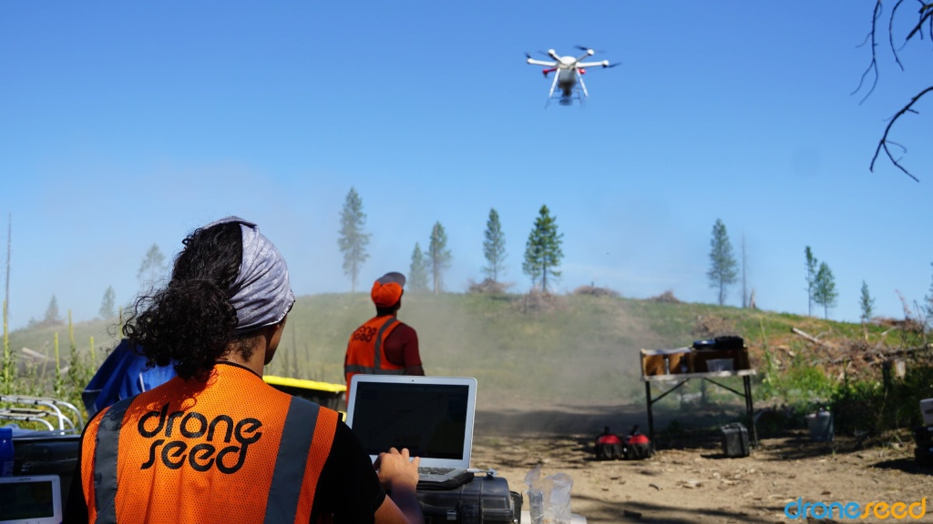 DroneSeed's drone operators fly a drone over an area being replanted.